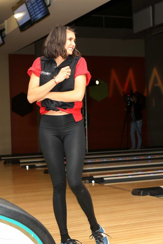 Nina Dobrev Playing Bowling At The Inaugural Mammoth Film Fest