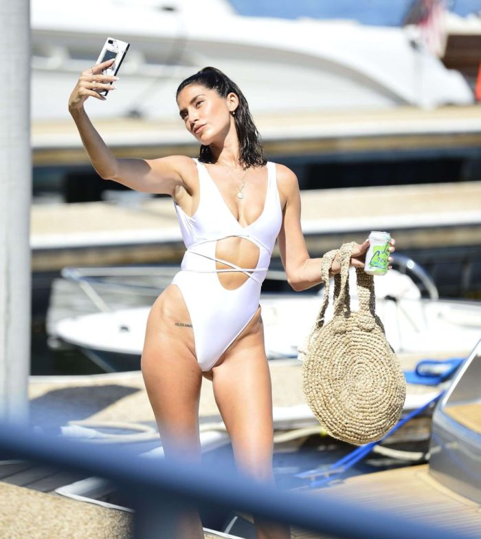 Nicole Williams In Swimsuit On A Yacht In Marina Del Rey