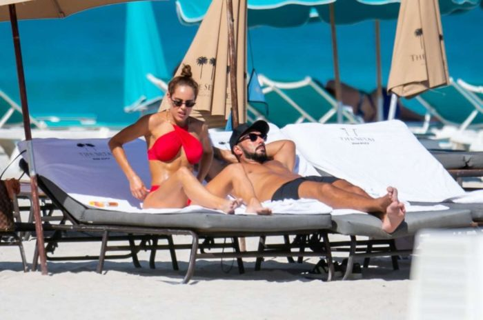 Sara Corrales Vacationing In A Red Bikini On The Beach In Miami